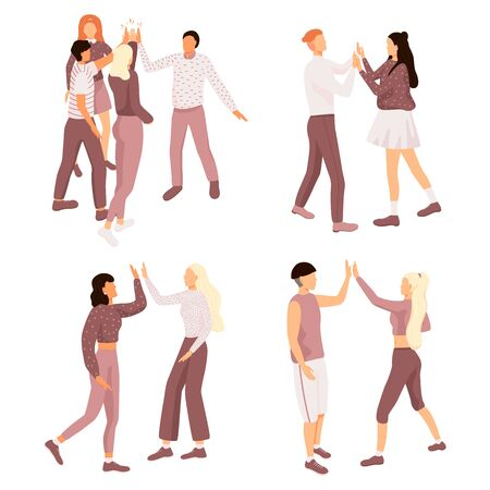 Friends doing high five. Cheerful friends and colleagues give informal greeting. Vector illustration