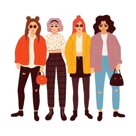 Four young women or girls dressed in trendy clothes standing together. Vector illustration