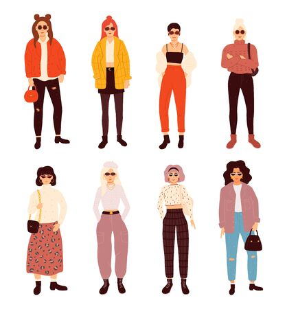 Collection of stylish young women dressed in trendy clothes. Flat colored vector illustration