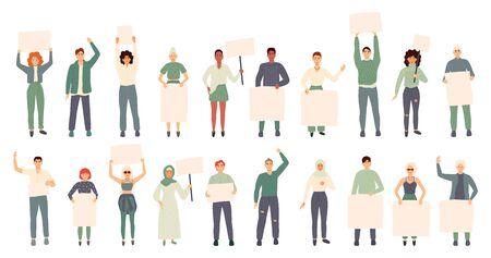 Foule de manifestants tenant des banderoles et des pancartes. Hommes et femmes participant à une réunion politique, un défilé ou un rassemblement. Groupe d'hommes et de femmes manifestants ou militants. Illustration vectorielle. Vecteurs