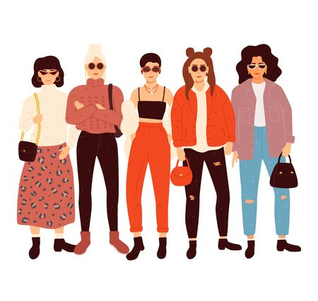 Group of adorable women dressed in trendy clothes. Vector illustration