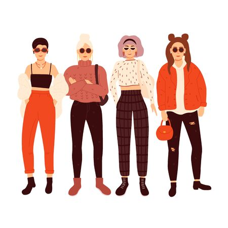 Four beautiful young women. Vector illustration