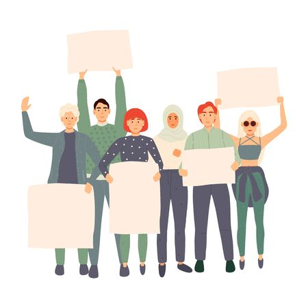 Protest people with big placard on demonstration. Vector illustration