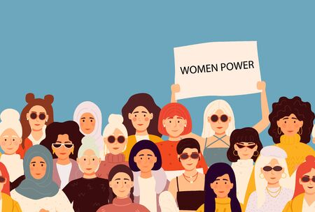 Set of vector illusttation. 8 march, International Womens Day. Feminism concept template design.
