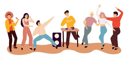 Happy dancing people. Friends dance, club female and male dancers. Flat colorful vector illustration.
