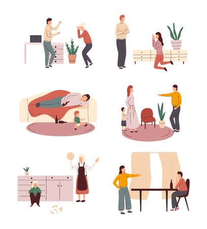 Ð¡ollection of scenes of family conflict or problems in relationships, unhappy families with children. Poor treatment of children by psychological abuse. Vector flat cartoon illustration.
