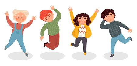 Vector illustration with simple flat characters - happy smiling kids playing together and jumping - children party invitation or greeting card design template