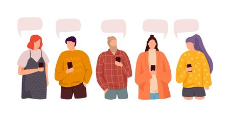 Vector illustration, flat style, Group of people discuss social media news. Dialogue speech bubbles
