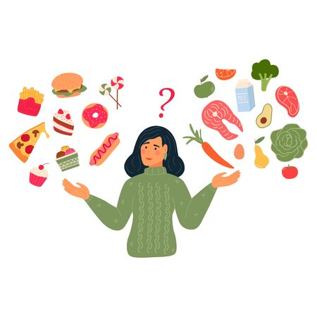 Woman chooses between fast food and healthy live food. Diet concept. Flat vector illustration. 일러스트