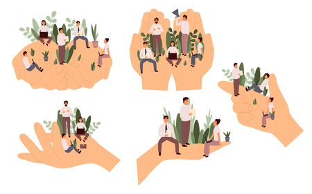Set of giant hands holding tiny office workers. Flat cartoon vector illustration. Ilustracja
