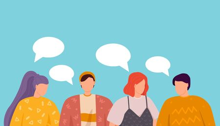 Vector illustration, flat style, Group of people discuss social media news, social networks, chat, dialogue speech bubbles Ilustracja