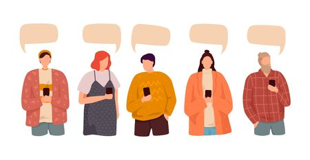 People speak and chatting. Communication with person. Dialogue speech bubbles. Isolated flat vector illustration. Ilustracja