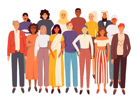 Diverse multiracial and multicultural group of people isolated on white background. Social diversity. Flat cartoon vector illustration Ilustracja