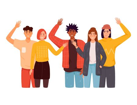 People greet gesture flat vector illustration set. People wave hello. Men, women in casual wear say hello. 일러스트