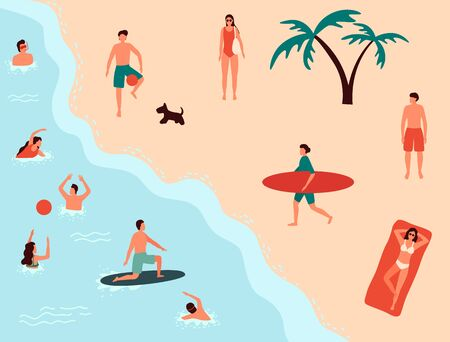 Sea swimming. People in sea or ocean performing various activities. Men and women swimming, diving, surfing, lying on floating air mattress and sunbathing, playing with ball. Flat cartoon vector illustration. Ilustracja
