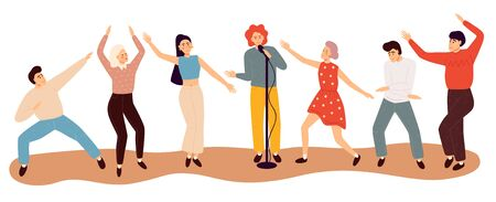Happy dancing people. Flat colorful vector illustration.