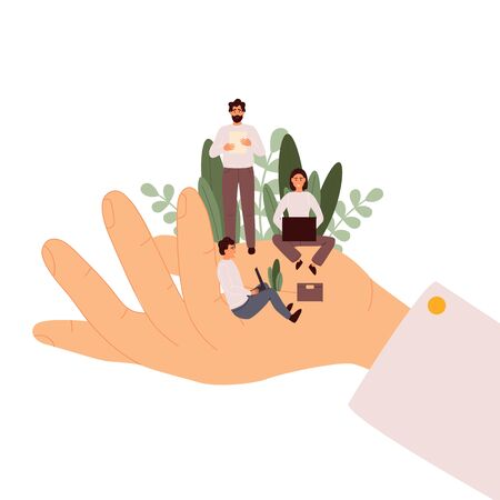 Giant hands holding tiny office workers. Support of professional growth.Template for web design, banner, mobile app. Flat cartoon vector illustration