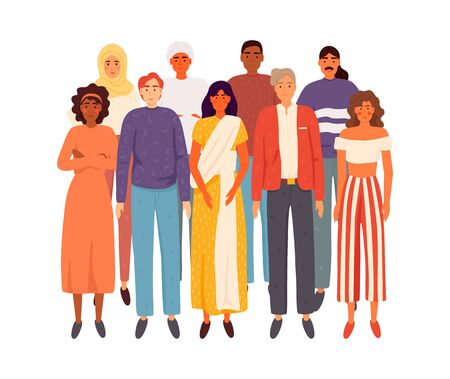 Multiethnic group of people standing together on white background, diversity and multiculturalism concept. Flat cartoon vector illustration EPS 10.