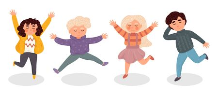 Happy kids jumping. Template for advertising brochure or web site. Funny cartoon character. Ilustracja
