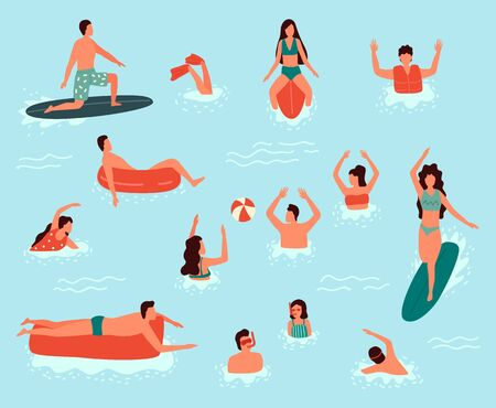 Sea swimming. People in sea or ocean performing various activities. Men and women swimming, diving, surfing, lying on floating air mattress and sunbathing, playing with ball. Flat cartoon illustration