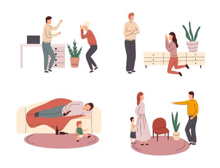 Collection of scenes of family conflict or relationship problem with unhappy married couples and children. Family or domestic abuse, unhappy marriage. Vector illustration.