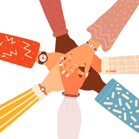 Concept of team work. Friends with stack of hands showing unity and teamwork, top view. People putting their hands together. Flat cartoon vector illustration.