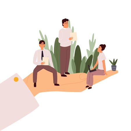 Giant hands holding tiny office workers. Template for web design, banner, mobile app. Flat cartoon vector illustration