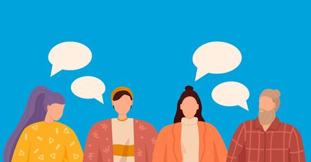 Group of people discuss social media news. Vector illustration, flat style, dialogue speech bubbles