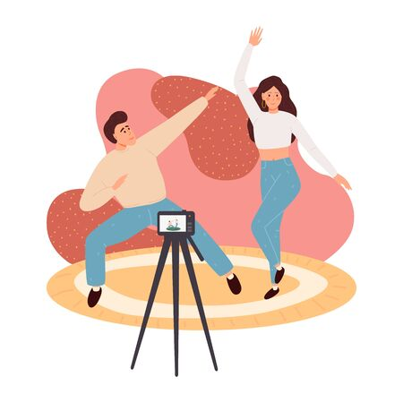 Creative blog content vector illustration concept, people recording content video for their channel, video marketing, can use for, landing page, template, web, poster, banner, flyer 일러스트