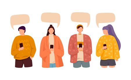 People speak and chatting. Communication with person. Dialogue speech bubbles. Isolated flat vector illustration. 일러스트