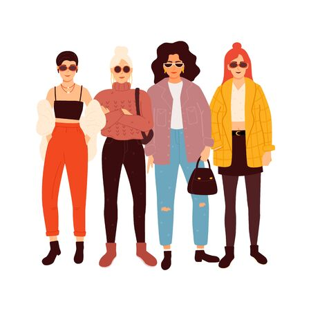 Four young women or girls dressed in trendy clothes standing together. Flat cartoon vector illustration Ilustracja