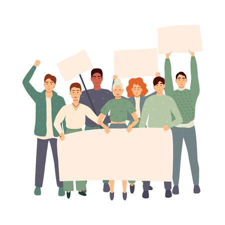 Group of people with banners protest. Flat cartoon colorful vector illustration Ilustracja