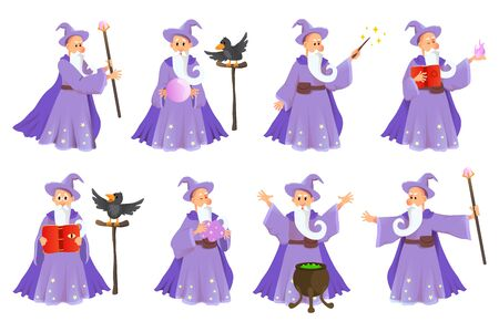 Cartoon old wizard in various poses. Sorcerer character in costume, spell magician, witchcraft and magical illustration