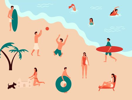 Sea swimming. Active people diving, swim with dog and surfing. Summer ocean swimming, enjoy tropical surfers or surf wave catch vacation vector illustration 일러스트