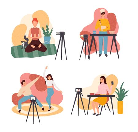 Collection of young men and women demonstrating their skills or teaching through internet. blogger promotion services and goods for her followers online. Colorful vector illustration in flat cartoon style. 일러스트