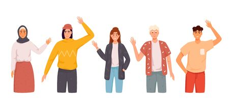Different nations representatives waving hand. Men, women in casual clothes say hello. Ilustracja