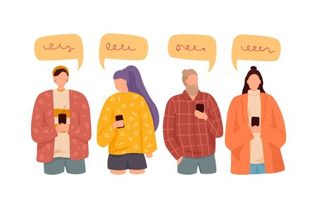 People talking with colorful speech bubbles. news, social networks, chat, dialogue speech bubbles 일러스트