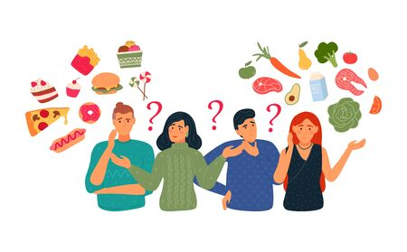 People chooses between fast food and healthy, lively food. Diet concept. People with a balanced diet, menu, diet. Flat vector illustration