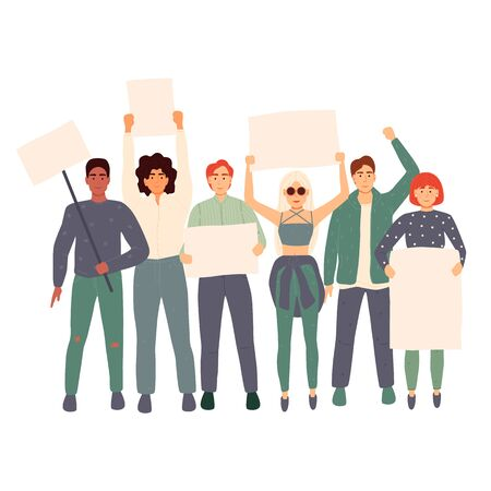 Vector illustration, holding banners and posters. Men and women take part in political parades or rallies.