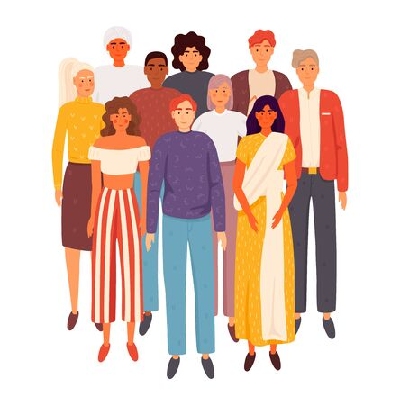 Multiethnic group of people standing together. Flat cartoon vector illustration EPS 10.