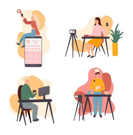 Live streaming, broadcast flat vector illustration. Male and female social media network bloggers collaboration. Bloggers cartoon characters. Interview, podcast, video recording in studio.