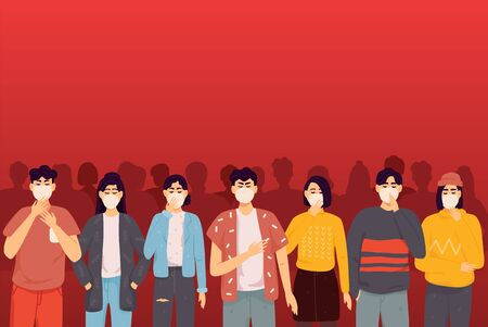 Crowd of people in protective masks epidemic stop coronavirus concept pandemic medical health risk portrait horizontal. Vector illustration in a flat style 일러스트