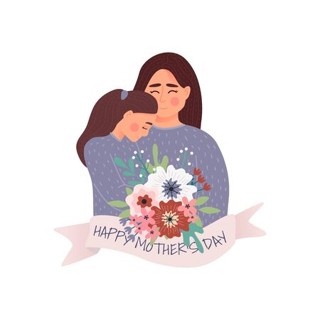 Vector Illustration Of Mother Holding Baby Son In Arms. Happy Mothers Day Greeting Card.