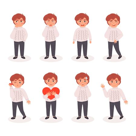 Set of boys expressions face emotions. Flat cartoon colorful vector illustration.