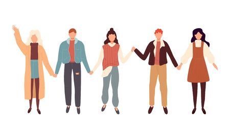 Vector flat style illustration of different people standing in a row, holding hands of each other and smiling. Concept for multicultural and multiracial friendship.