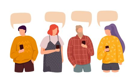 Flat design social network communication vector concept illustration of group of people chatting with speech bubbles. Ilustracja