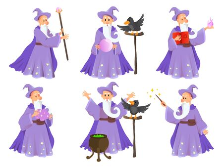 Magician in robe spelling vector cartoon characters. Wizard with hat of fairytale character in various poses. Vector illustration