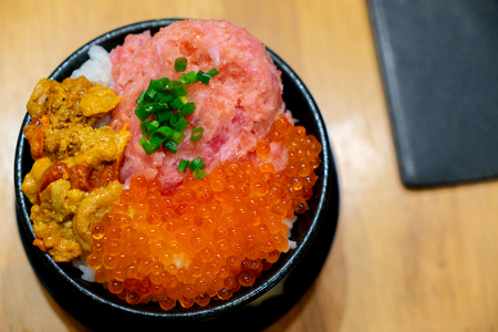 Japan special raw fish rice bowl Stock Photo