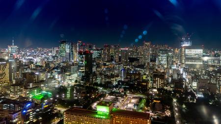 Japan cityscape bird eye view at night
