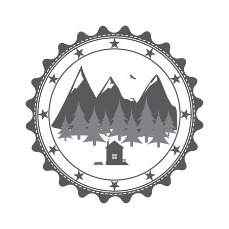 pictured: Mountain landscape pictured on the label in vintage style